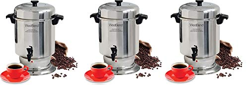 West Bend 13550 Polished Stainless Steel Commercial Coffee Urn Features Automatic Temperature Control Large Capacity with Quick Brewing Easy Clean Up, 55-Cup, Silver (3)