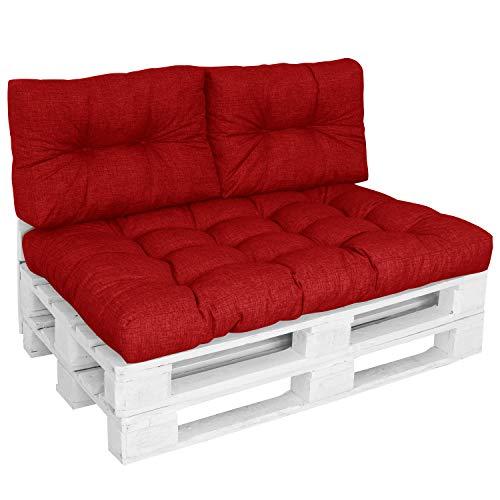 DILUMA | Set 3 pièces Rouge | Assise 120x80 cm + 2X Dossiers Courts 60x40cm | Coussin Comfort pour Sofa Palette Europe résistant aux éclaboussures