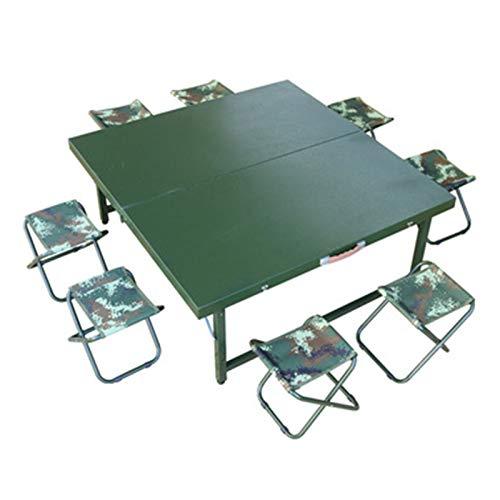 Tisch- und Stuhlset im Freien Multifunktionaler Klapptisch und Stuhl-Set, tragbarer Konferenztisch im Freien, Armee Green Steel Outdoor Training Tisch...