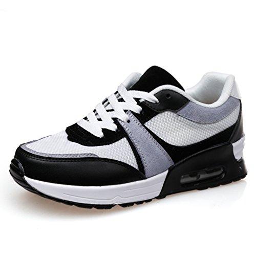 LFEU Femme Chaussure Compensé pour Sport Outdoor Bulle d'air Maille Running Confortable Pied Mince Confortable Blanc Gris 37(Recommandez la Taille Un de Plus)