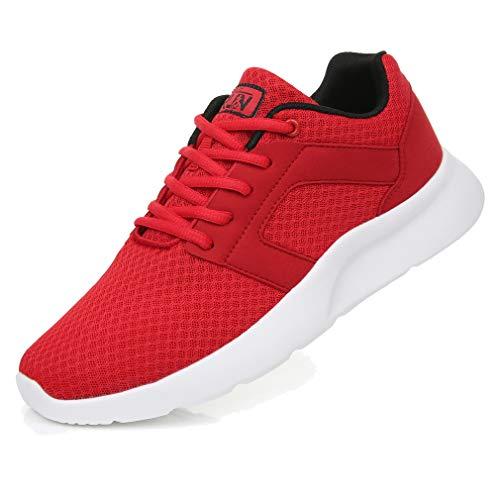 Uricoo Męskie damskie buty typu sneaker, buty do biegania, do fitnessu, aktywności na świeżym powietrzu, oddychające, lekkie buty sportowe 36EU-47EU, czerwony - czerwony - 43 EU