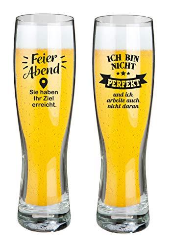 HandWerk Bierglas Weizenbierglas Set 2 Stück mit lustigen Sprüchen Ich Bin Nicht perfekt und Feierabend 500 ml