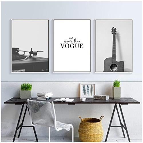 QYH Negro Moderno Blanco Guitarra Lienzo de Pintura de Instrumentos Musicales la decoración del hogar Vogue Arte del Cartel del Cuadro de la Pared -50X70Cm sin Marco