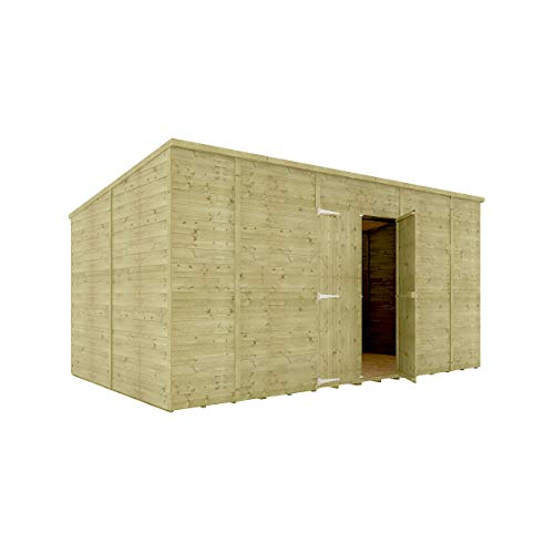 14 x 8 Pressure Treated Hobbyist Pent Shed Tongue & Groove Shiplap Cladding Construction Windowless Central Door OSB Floor Wooden Garden Shed 4.26m x 2.43m