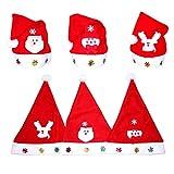 Amacoam Cappelli Natalizi per Adulti Bambini Cappelli di Babbo Natale Cappellino di Natale Babbo Natale Cappello 6 Pezzi Cappelli Natale Accessori di Babbo Natale Vari Tipi Cappellini Natale