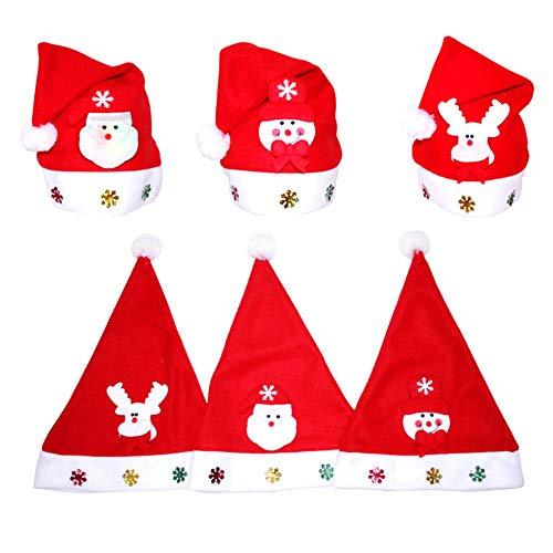 Amacoam Gorro de Papa Noel Gorros de Navidad Niños Adultos 6 Piezas Gorra Navidad Patrón de Papá Noel Reno Monigote de Nieve Sombrero de Navidad Sombreros de Santa Claus Varios Tipos Accesorio Navidad