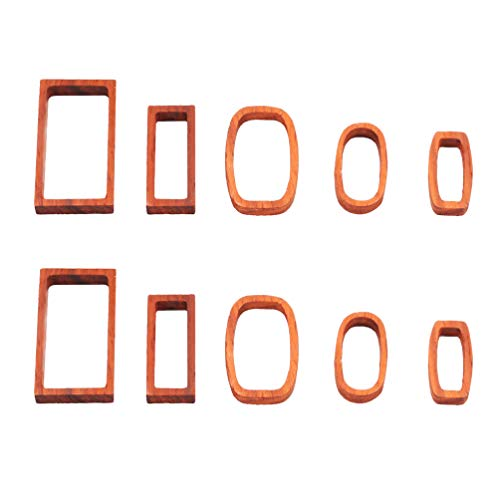 EXCEART Wood Frame Pendant Mold 10Pcs Wooden Frames Pendants Bezel Charms Hollow Mold Pressed Flower Jewelry Making Kit