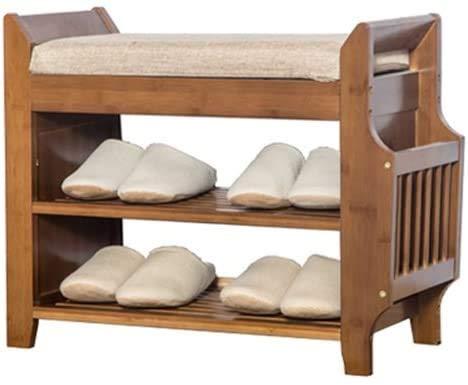 XWZH Zapatero a prueba de polvo de 3 niveles, color marrón, organizador de zapatos de madera vintage, soporte de almacenamiento con cojín de asiento suave para entrada (tamaño: 62 x 29,5 x 49,5 cm)