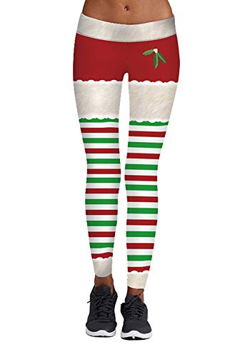 wenyujh Damen Leggings Weihnachten Muster Hose Sport Yoga Hose Stretch Skinny Leggins Floral Print Druck