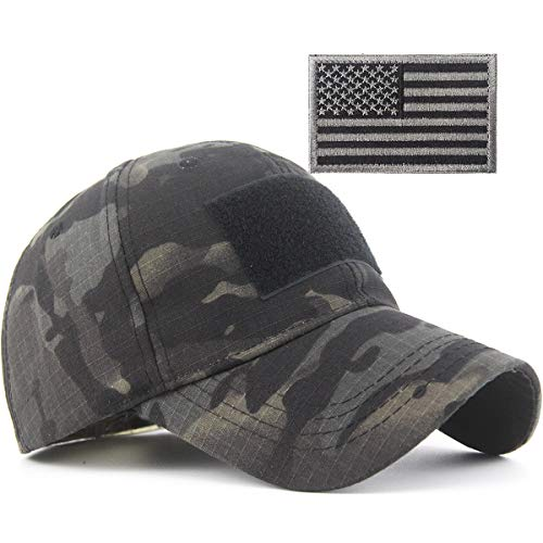 REDSHARKS Snake Camouflage Camo Baseball Cap with American Flag USA Tactical Operator Army Military Hat for Shooting Hunting Multicam