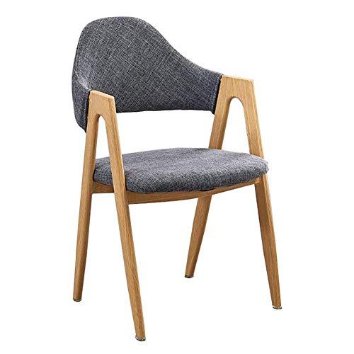 JIEER-C vrijetijdsstoelen eetkamerstoel massief houten tafel stoel eenvoudig robuuste armleuning stoelen poten van koolstofstaal 50x40x80cm duurzaam sterk grijs