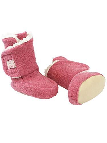 PICKAPOOH Baby Stiefelchen Trotter Bio-Wollwalk/Bio-Baumwolle, Wild Rose, Gr. 1 ca. 0-3 Monate