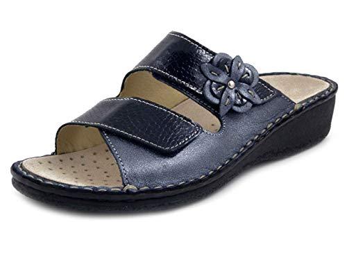 CINZIA SOFT , Pantofola Ciabatte Donna Linea Ortopedica in Pelle Blu, Chiusura Strap, Plantare Estraibile, Zeppa Bassa, 2812