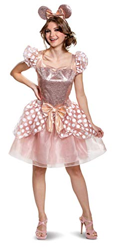 Disguise Women's Rose Gold Minnie Deluxe Adult Costume, M (8-10)
