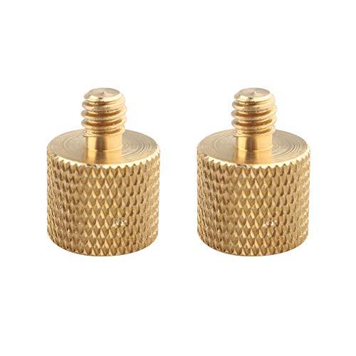 Jopto 2 piezas 3/8-16 hembra a 1/4-20 macho, adaptador de rosca reductor de tornillo, accesorio de latón