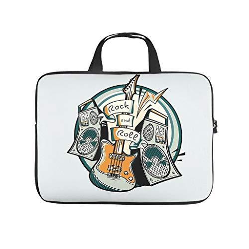 Rock und Roll Gitarre 3D Druck Laptoptasche Schutzhülle Beständig Neopren Laptop Hülle Tasche Süße Tablet Tasche Bag für Mädchen Jungen White 10 Zoll