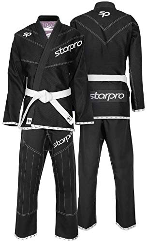 Starpro BJJ Suits Brazilian Gi - Professional Training & Competition Martial Arts Grappling Jiu-Jitsu Uniform Kimonos | Preshrunk Black White Blue Cotton Fabric Men & Women (A0 A1 A2 A3 A4 A5)