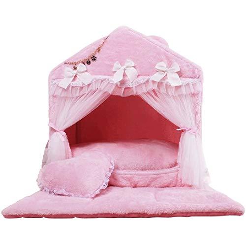 XZPENG Rosa Hunde & Katzen-Hundebett-Auflage Luxus Prinzessin Bögen Spitze-Herz-Haustier-Nest mit Anti-Rutsch-Boden (Size : 70X52X72CM)