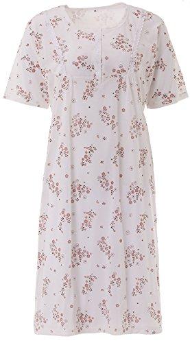 Zeitlos Lucky Nachthemd Damen Kurzarm Blümchen Spitze Knöpfe, Größe:2XL, Farbe:beige