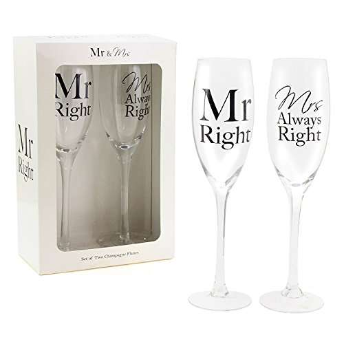 """Mr Right & Mrs Always Right"" Set of two Champagne Flutes"