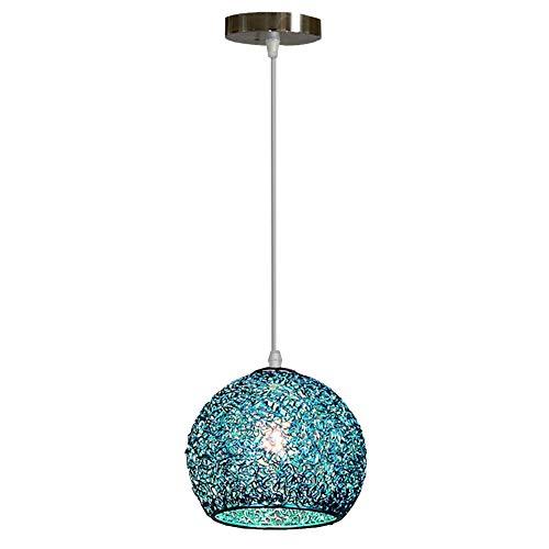 Iluminación del Techo Colgante,Lampara Aluminio para Techo,E27 110-240V Luz Casquillo Interior Foco para Cafeteria Bar Pub Restaurante Casa (Azul)