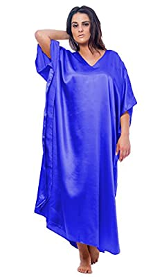 Up2date Fashion Satin Caftan, Style#caf23-RB, One Size Fits All, Solid Colors (Ivory, Aqua, Royal Blue) by
