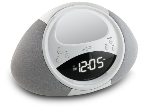 iLive ICP122W Clock Radio with Dock for iPhone iPod, 20 FM Presets and LCD Display (White)