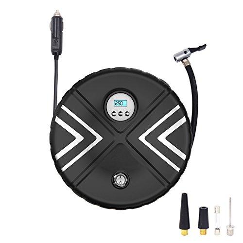 Compresseur d'air Portable, Double Cylindre 12V DC Gonfleur Electrique MIKLL avec Haute luminosité LED 3 Adaptateurs de Buse,Câble 3m pour Voiture, Vélo, Camion, Ballons de Sport et d'autres Gonflables
