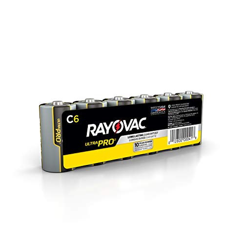 Rayovac C Batteries, Ultra Pro Alkaline C Cell Batteries (6 Battery Count) (ALC-6J)