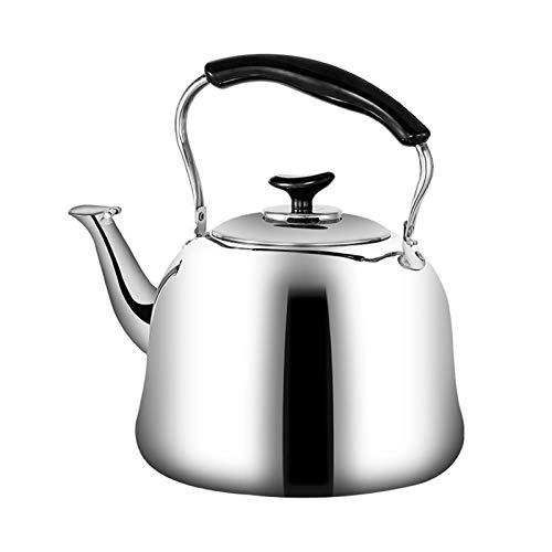 Electric oven Hervidor de té de la fogata Que silba el hervidor de Acero Inoxidable con la manija ergonómica Adecuada para Todo Tipo de Estufas (Color : Silver, tamaño : 5L)