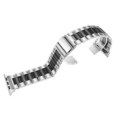 Pulseira de aço inoxidável WSLCN compatível com Apple Watch substituição pulseira para iWatch Series 4/3/2/1, G, 42-44mm