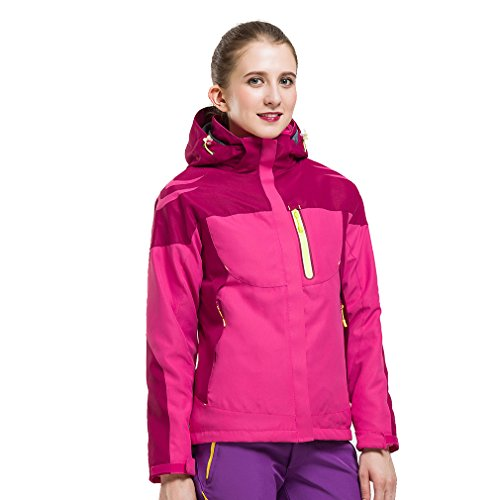 CIKRILAN Femme 3 en 1 Coupe-Vent Imperméable Respirante Veste Outdoor Sport Camping Randonnée Manteau avec Veste Polaire (XXX-Large, Rose Rouge)