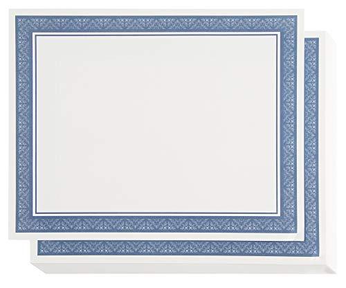 Papel de certificado con borde azul, certificados de premio (blanco, 8.5 x 11 pulgadas, 50 unidades)