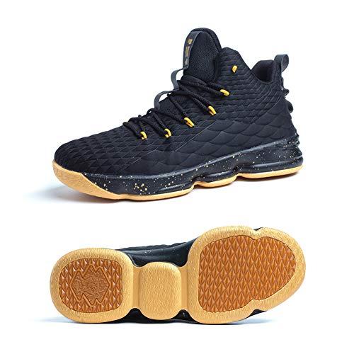 Zapatos Hombre Deporte de Baloncesto Sneakers de Malla para Correr Zapatillas Antideslizantes Negro Rojo Champán Verde Brillante 36-46 Oro Negro 43
