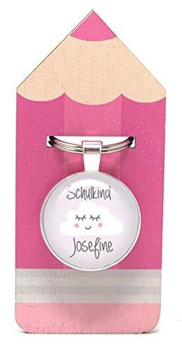 Schlüsselanhänger Schulkind Wolke rosa mit Wunschtext