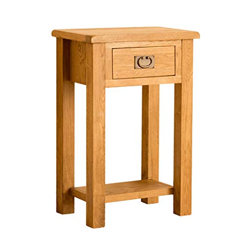 RoselandFurniture Lanner Oak Telephone Table with Storage Drawer | Traditional Rustic Waxed Solid Wooden Tall Hall Side End Stand Small Console for Modern Hallway, Living Room or Entryway