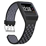 SKYLET Compatible with Fitbit Ionic Bands for Men with Case, Soft Replacement Sport Wristband Compatible with Fitbit Ionic Smart Watch with Metal Clasp Women[Black-Gray]