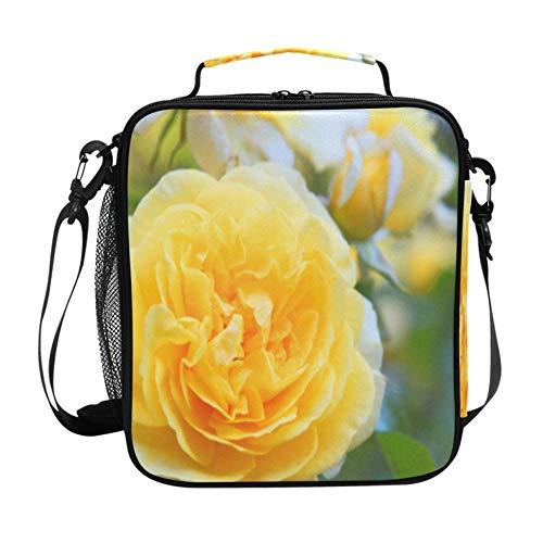 Fiambrera personal nevera cubo de almuerzo de banquete de rosas amarillas brillantes con correa de hombro ajustable y bolsillos múltiples bolsas de almuerzo