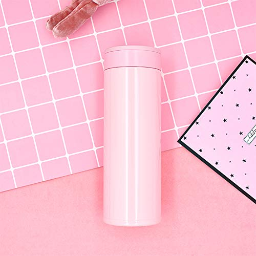 Sportwasserflasche, intelligente LED-Temperaturanzeige, Mehrzweckerinnerung an Trinkwasser, Edelstahl 316, geeignet für Radfahren, Fitnessstudio, Heim, Büro-Pink