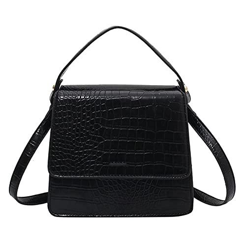 woyada Damen Retro-Umhängetasche, PU-Leder, Schultertasche, mit abnehmbarem Riemen, Magnetverschluss, quadratische diagonale Tasche