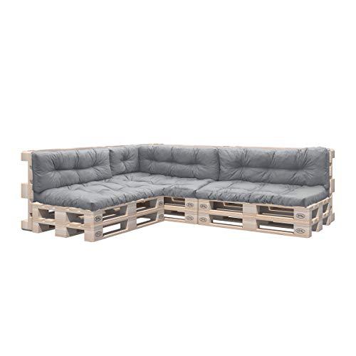 Pillows24 Palettenkissen 8-teiliges Set | Palettenauflage Polster für Europaletten | Hochwertige Palettenpolster | Palettensofa Indoor & Outdoor | Erhältlich Made in EU | Grau
