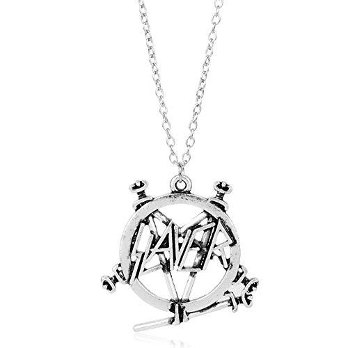 DYKJ Pentagram Band Logo Colgante Collar Gothic Punk Heavy Metal Band Joyería para Hombres Mujeres Fans