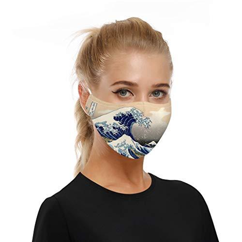 Erwachsene männliche und weibliche Lustige atmungsaktiver Stoff, Wiederverwendbare Outdoor Unisex, Baumwolle Soft für Radfahren Anti-Staub Staub (P, 18×10 cm)