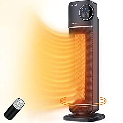 CHLANT Space Heater,1500W Fast Heating PTC Ceramic Tower Heater,Portable Electric Heater,Indoor Quite Oscillating Heater with Safety Protection,2 Heat Settings,Remote Control,9-Hrs Timer,LED Display