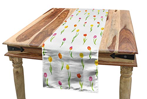 Ambesonne Watercolor Flower Table Runner, Colorful Tulips Pattern Country Style Floral Design Watercolor Effect Art, Dining Room Kitchen Rectangular Runner, 16