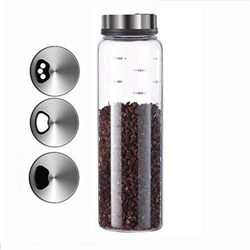 Zhiyangmaoyi 調味料ボトル 調味料ポット 調味料入れ スパイスボトル 付き貯蔵用 塩 コショウ 砂糖入れ 保存容器 500ml