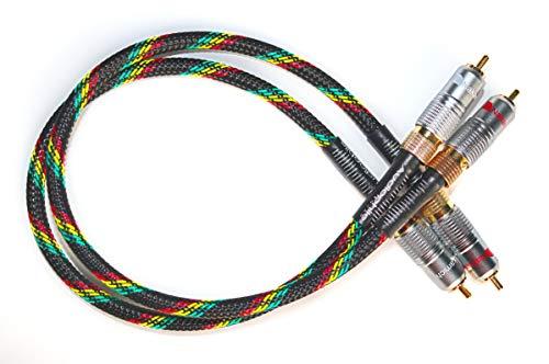 Audiophile Squad Interconnect Kabelset – HighEnd Cinchkabel aus Mogami 2534 Kabel – HiFi Analog Stereo Audiokabel mit Nakamichi Stecker – 1m Geflochten Cable mit RCA Anschluss – Chinchkabel (1)