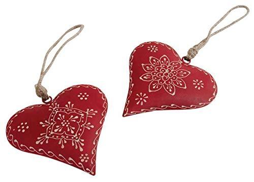 AUBRY GASPARD Coeur à Suspendre en métal et Corde (Lot de 2) 12 cm