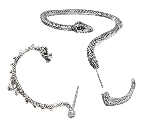 niceEshop(TM) 2pcs Temptation Earring Gothic, England Left Ear(Snake)+Gothic Right Ear(Dragon)-Retro Silver +Free niceEshop Cable Tie