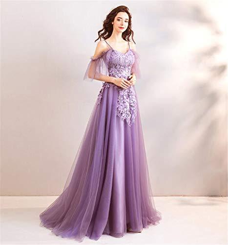 LYJFSZ-7 Hochzeitskleid,Elegantes Bodenlangen Abendkleid, Tüll Spitze Bestickte Dreidimensionale Blume, Bandeau Schultergurt, Lila Brautkleid